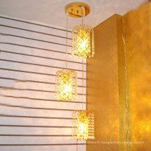 Loft lumière américaine rétro lustre en cristal Creative petite fer cadre vintage pendentif lumière