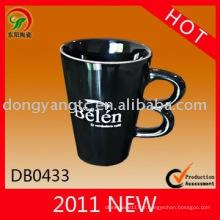 Tasse en céramique de design spécial noir verni 175cc