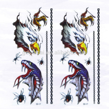 High grade 3D Eagle Snake Spider Temporary Not-toxic Tattoo stickers with Powerful design