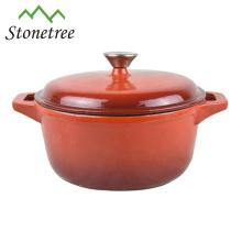Red Round Cast Iron Casserole Pot