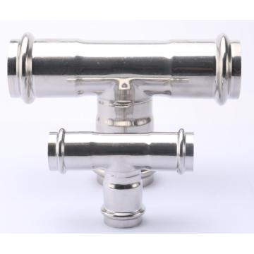 V perfil de acero inoxidable Tee Press Pipe Fitting