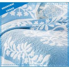 Juego de cama acolchado de poliéster estampado coral azul