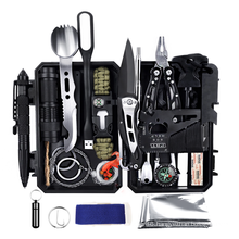 25 in 1 Emergency Survival Kit, Professional Tactical Defense Equipment Tool with fire starter for Adventure Outdoors Sport