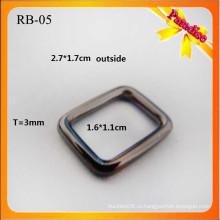 RB05 Пользовательские металлической лентой квадратных пряжкой металлическое кольцо и мешок плоские пряжки