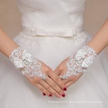 Kurze Spitze Hochzeit Braut Handschuhe mit Schleife