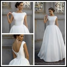 2017 White Satin Button Ball Gowns Wedding Dress Bridal