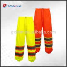 Pantalon de sécurité réfléchissant de maille en gros, pantalon respirable de sécurité de travail de cargaison avec 2 bande réfléchissante de High Viz