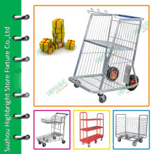 Warehouse rolling wire cage carts