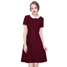 Kate Kasin Women Contrast Doll Collar Wine Short Sleeves Flare Dress KK000388-2