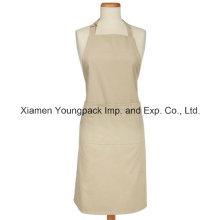 Moda personalizada 100% algodón blanco natural de cocina delantal con bolsillos
