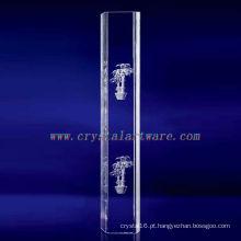 K9 3D Laser Potting Gravado Cristal com Forma de Coluna