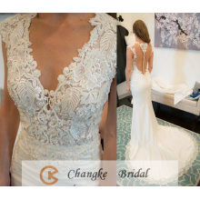 Sexy Wedding Dress Beads Pattern Appliqued Crystal See Through Boning Mermaid Bridal Gown 2017