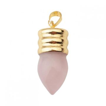 Natural Lamp Bulb Gemstone Rose Quartz Pendant Plated Gold