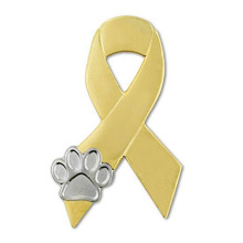 Animal Cruelty Awareness Ribbon Paw Lapel Pin