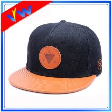 Personalizar Couro Brim Denim Crown Flat Bill Cap