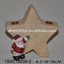 2016 christmas ceramic candle holder with santa and star design