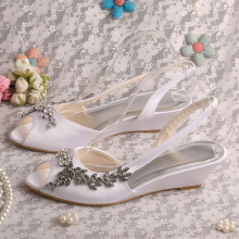 White Satin Wedge Shoes Sandalen voor bruiloft