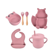 Bpa Free Water Cup Bib Fork Dish Food Bowl Spoon Divided Kids Suction Eco Friendly New Born Gift Travel Baby Set For Feeding