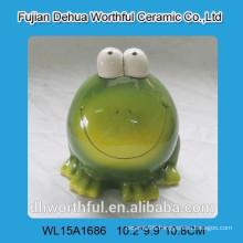 ceramic cute green frog design piggy bank