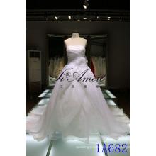 White Strapless Organza Layered Wedding Dress