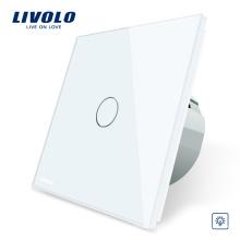 Gradateur Livolo EU standard, interrupteur Smart Touch électrique en verre blanc avec cristal, commutateur à 1 voie VL- C701D-11/12/13/15