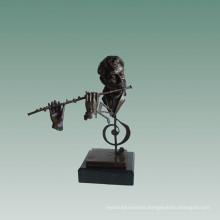 Busts Brass Statue Flutist Decoration Bronze Sculpture Tpy-759