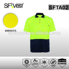 2015 SFVEST man dress High Visibility Reflective hi vis work polo t shirt