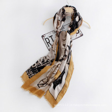 Moda feminina impresso lenço de seda de viscose (yky1127)