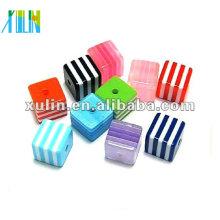 atacado multicolor stripe cubo contas de resina