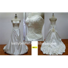 gorgeous and romentic lace and handmade flowers designer wedding gown