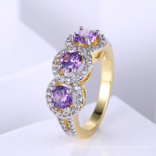 Popular twp tone plateó el diseño del anillo de oro de la joyería para las mujeres