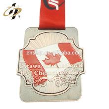 Antique bronze zinc alliage canada personnalisé BJJ sport médaille avec émail