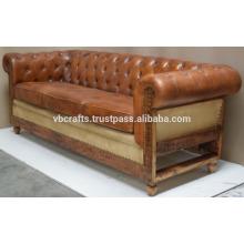 Canapé en cuir vintage Pied en bois,