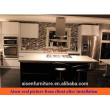 Image réelle du Canada Client armoire de cuisine en laqué brillant noir blanc mixte