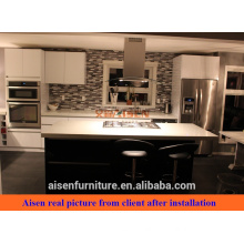 Real picture from Canada Client black mixed white color glossy lacquer kitchen cabinet