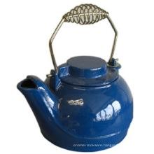 Blue Enamel Cast Iron Teapot