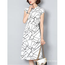 Summer Latest Lines Pattern Shirt Collar Ladies Dress