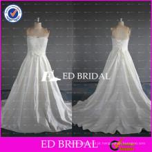 ED Bridal Beautiful Strapless Lace Bodice A Line Tribunal Trem cetim vestidos de noiva 2017 com faixa