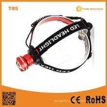T85 Xml T6 LED de alta potência Campinging farol recarregável LED farol