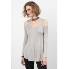 Sweater V-Neck Bahu Dingin