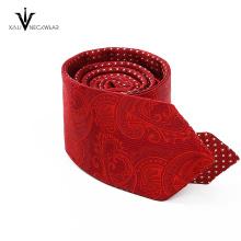 Custom Wholesale Skinny Silk Tie Red Wedding Woven Mens Paisley Tie
