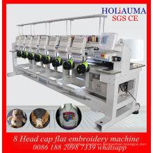 8 Head Cap Flat Embroidery Machine / Multi Head Multi Function Computerized Embroidery Machine