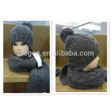 Gris Tejido Invierno China fábrica sombrero y bufanda