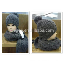Grey Knitted Winter China factory Hat and Scarf