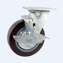H1 Тяжелый тип двойного шарикового подшипника Красный PU Тип тормозного механизма Industrial Caster (