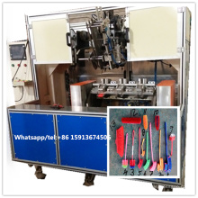 5 axis CNC 2 heads drilling and 1 head tufting brush machine