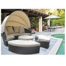Outdoor Sun Lounger Canopy Wicker Patio Garden Rattan Daybed