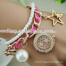New design gilrs love diamond pearl strap lady watch