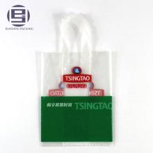 O PE imprimiu o saco de compras do punho do laço do logotipo com laços plásticos