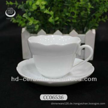 Teetasse, Kaffeetasse mit Untertasse, Blumenrand Tasse und Untertasse